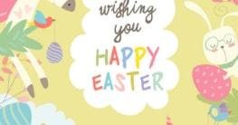 Bild mit Ostergrüßen - mit drei Einhörnern, zwei Osterhasen und vier Vögeln mit Ostereiern