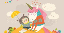 Illustration Kinderbuch - Mädchen mit Einhorn und Buch - Titel für Federmappen & Etuis