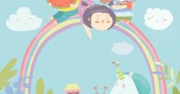 Einhorn-Schulranzen und Schulrucksäcke Titelbild - drei Kinder sitzen fröhlich auf einem Regenbogen - Illustration