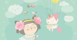 Einhorn-Schulranzen-Sets - Titelbild Zeichnung mit fröhlichem Mädchen und Einhorn und Luftballons